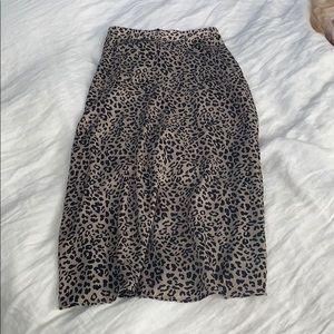 Mango Leopard Print Midi Skirt